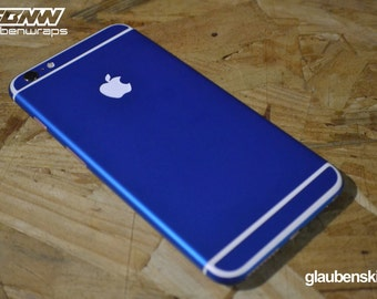iphone 6 skin matte blue with white