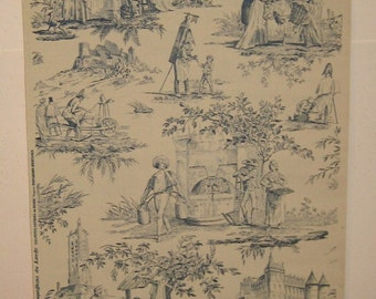 Charming Antique 20th C. French Scenic Toile Wallpaper (8279)