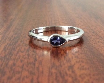 Natural iolite sterling silver ring