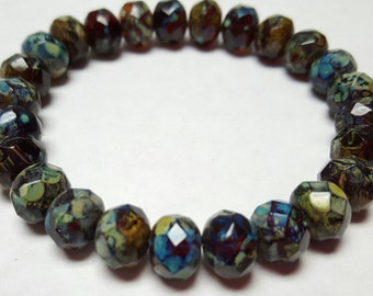 "Czech Fired Glass Faceted Rondelles 8mm 14"" strand"