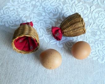 2 vintage egg cozies / wicker fabric / W. Germany / 1970