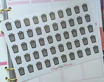 Trash can rubbish garbage bin icons labels planner stickers for Erin Condren & other planners, diaries