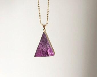 Purple agate ~ gold ball chain ~ 60cm