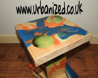 "Graffiti Wood Side Table Urban Style ""Abstract"" Range"
