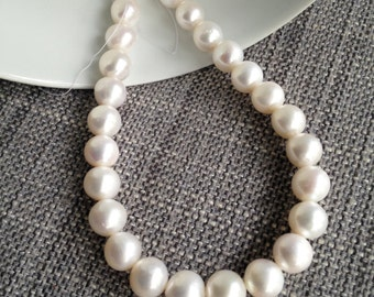 Almost Round 11-12mm White Freshwater Pearl - Batch E8