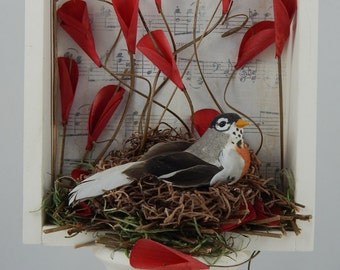Bird Nest Shadowbox on a Pedestal