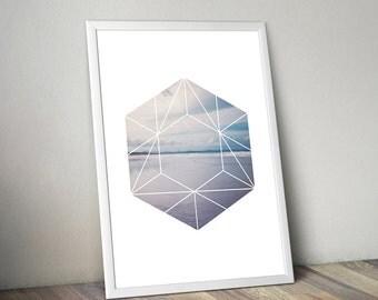 Wild Beach, Ocean, Print Design, Geometric Figure, Photography, Wall Decor, Printable Gift, Print Art
