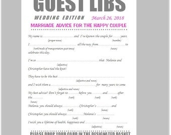 25 Personalized Custom Wedding Bridal Shower Rehearsal Guest Libs Mad libs Game Cards