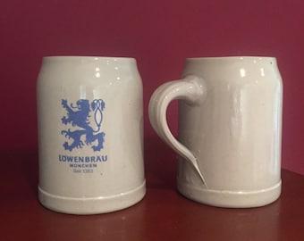 Vintage Lowenbrau Munchen Beer Mugs