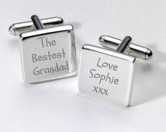Personalised The Bestest Grandad Cufflinks