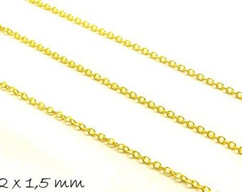 5 m chain gold, fine, 2 x 1.5 mm