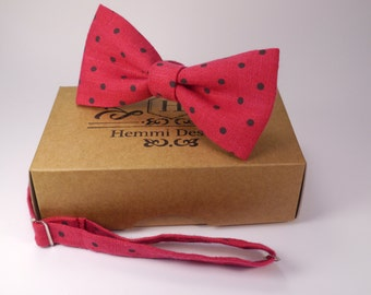 Red Crimson Linen Bow Tie For Wedding / Red Bow tie for groomsmen / Boy's, Toddler's, Baby's Men's Red Linen Bow Tie