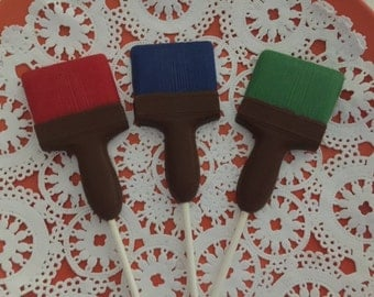 PAINT BRUSH CHOCOLATE Lollipops 12qty-Paint Party Favors/Artist Party/New House Favors/Construction Party/Housewarming Favor/Birthday Party