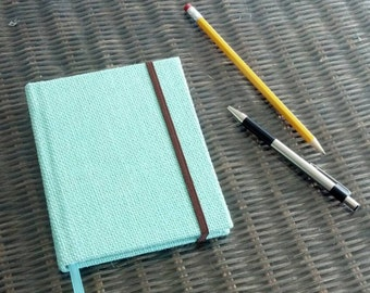 """Blue Burlap Cover Small Hardcover Journal/Sketchbook - 4.5""""x5.75"""" - Blank Pages - 56 pgs - Elastic Closure, Ribbon Page Marker, Back Pocket"""