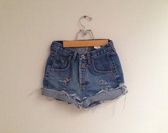"Vintage High Waisted Cutoff Jean Shorts - express - size 3/4 - 28"" waist - Classic denim shorts"