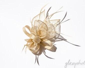 Ivory/Cream Classic Sinamay Flower Fascinator/Clip