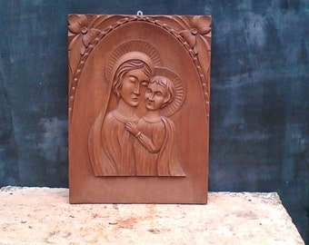 Oak hand carved religious icon.