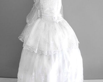 Girls White Baptism/Communion/ Gown Dress Corset Lace Up Sides Dress and Bolero/ Vestdio Desmontable Para Bautizo o Comunion