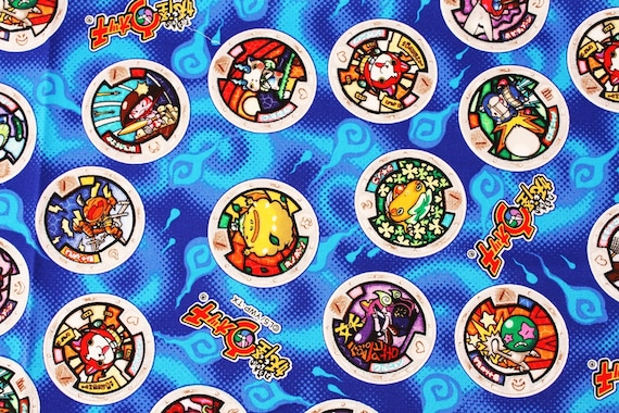 Yokai watch medal character fabric made in japan fq 45cm by for Porte medaillon yokai watch
