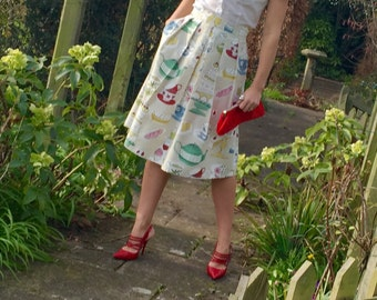 Elegant, handmade midi skirt, high waist, new year, quirky and chic, pleats and pockets. Made to order.