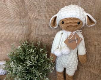 White Crochet Lalylala (16 inch), Lamb Lalylala, Crochet Dolls for Girls, Birthday Gift Lalylala, White Lamb Lalylala PERSONALISED GIFT TAG