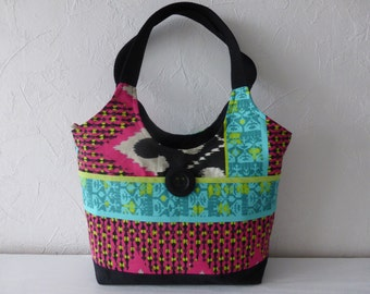 Ethnic spirit multi-coloured printed cotton canvas handbag