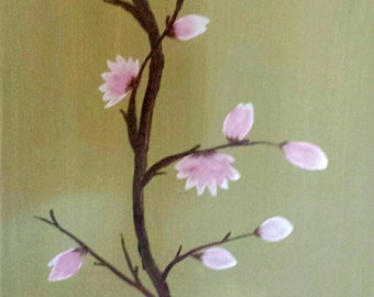Magnolia blossoms flower on 11x14 canvas acrylic painting