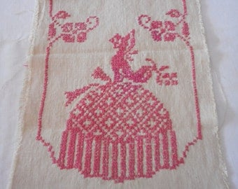 Pink Southern Belle Vintage Embroidery Cloth to Finish