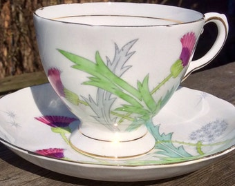 Pretty in Pink Tuscan Thistle Teacup and Saucer