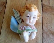 Vintage Cherub Made in Japan Wall Hanging Angel with Flowers