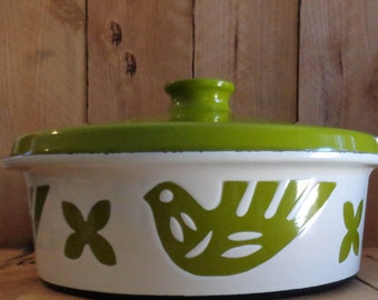 Vintage Enamel Ware By Hanova of Pasadena Enamel Green Birds Casserole Dish