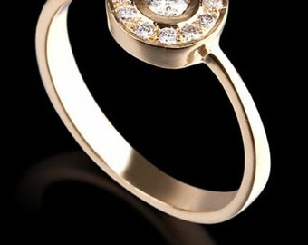 14 k Yellow Gold Ring central diamond 0.25 CT