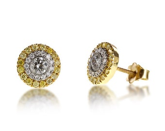 Earrings of diamonds processed by hand, central diamonds total CT 0.25 x 2 0.50 CT