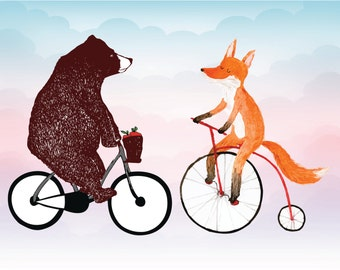 Bear on bike fox on bike Instant download file Digital print funny woodland animal card Vector graphic animals Wild animal Outdoor design