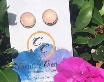 Handmade glitter stud earrings