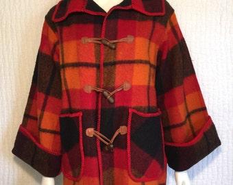 Vtg 70s plaid wool toggle blanket coat jacket small
