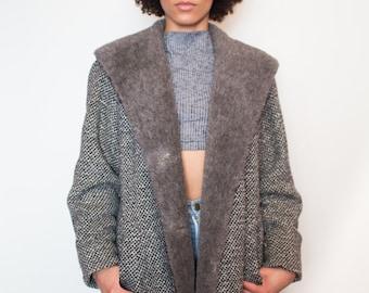 Vintage 70s Tweed Trapeze Winter Coat