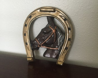One of a Kind, Hand Painted Chalkware Horseshoe And Horse - Carnival Prize - Chalk Ware Horse Head  - Wall Hanging - Tattoo Reference