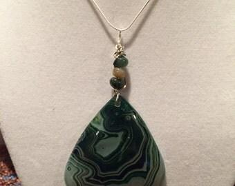 Striped triagle green pendant