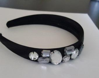 Girl's Black Headband with Gems