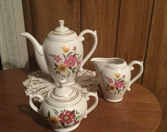 S.A LEART Co. Loucarte Made in Portugal Tea Pot Creamer and Sugar Bowl