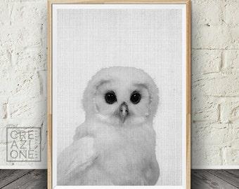 Baby owl print art, Nursery wall decor, Owl print, Kids room, Animal print, Printable kids gift, Bird kids wall print, Black and white #031