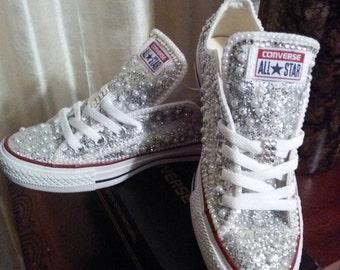 Silver Glitter Pearl Bling Converse