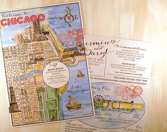 Watercolor Wedding Maps, Chicago Hand Painted Guest Map, Illustration, Custom Wedding Map for Invitations,  Hand Drawn Custom ART FEE ONLY