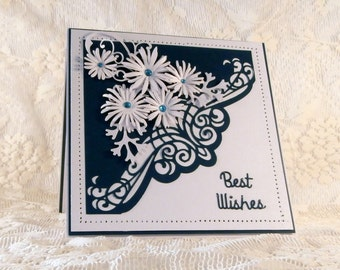 Beautiful handmade wedding greeting card in teal and white with gorgeous die cuts and handmade paper daisies.