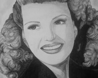 Rita Hayworth canvas board print