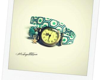 wristwatch in hexagonal shapes cotton fabric