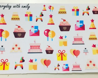 Birthday stickers - planner stickers - party stickers
