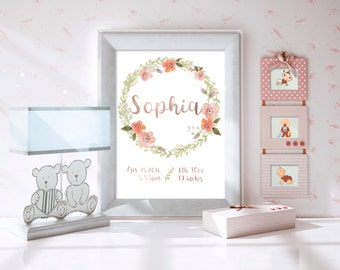 Custom Birth Name 8x10 Nursery Wall Art - Peach Watercolor wreath with Rose Gold Foil Lettering, Babys name and birth stats