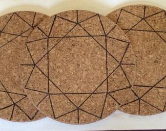 Geometric cork coasters trivets